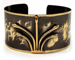Brass Cuff Bracelet Black Crown