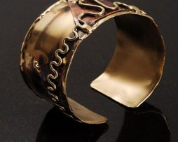 Side view of brass cuff bracelet handmade