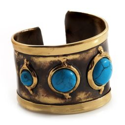 Brass Cuff with Turquoise Stones